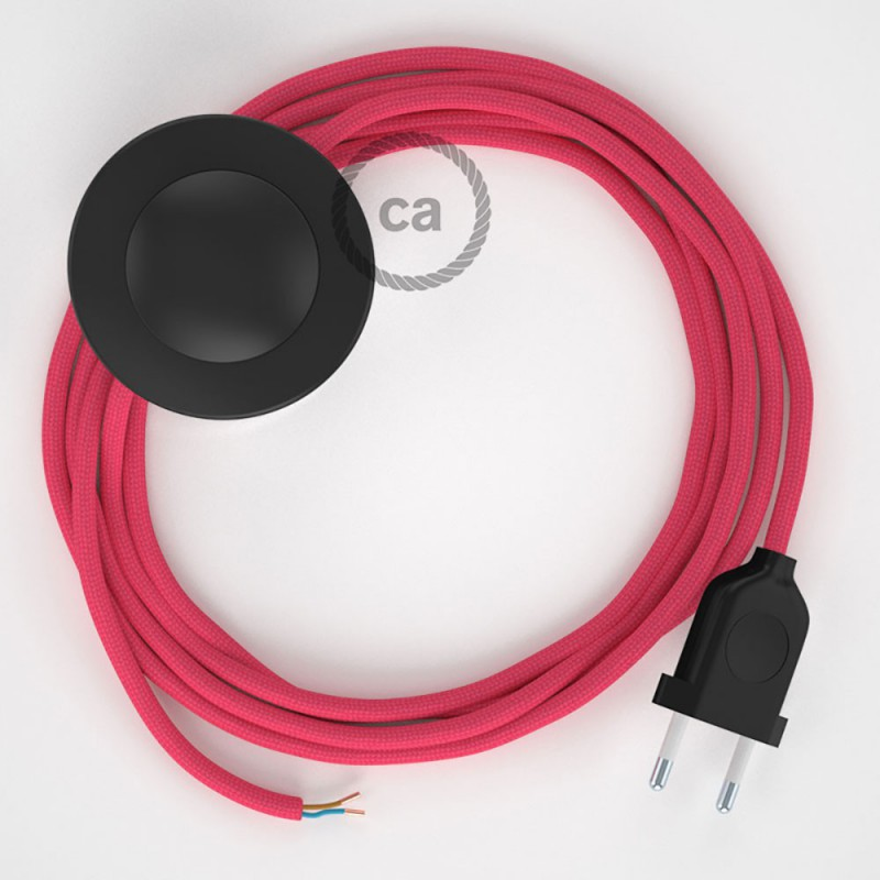 Cordon pour lampadaire, câble RM08 Effet Soie Fuchsia 3 m. Choisissez la couleur de la fiche et de l'interrupteur!