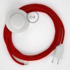 Cordon pour lampadaire, câble RM09 Effet Soie Rouge 3 m. Choisissez la couleur de la fiche et de l'interrupteur!
