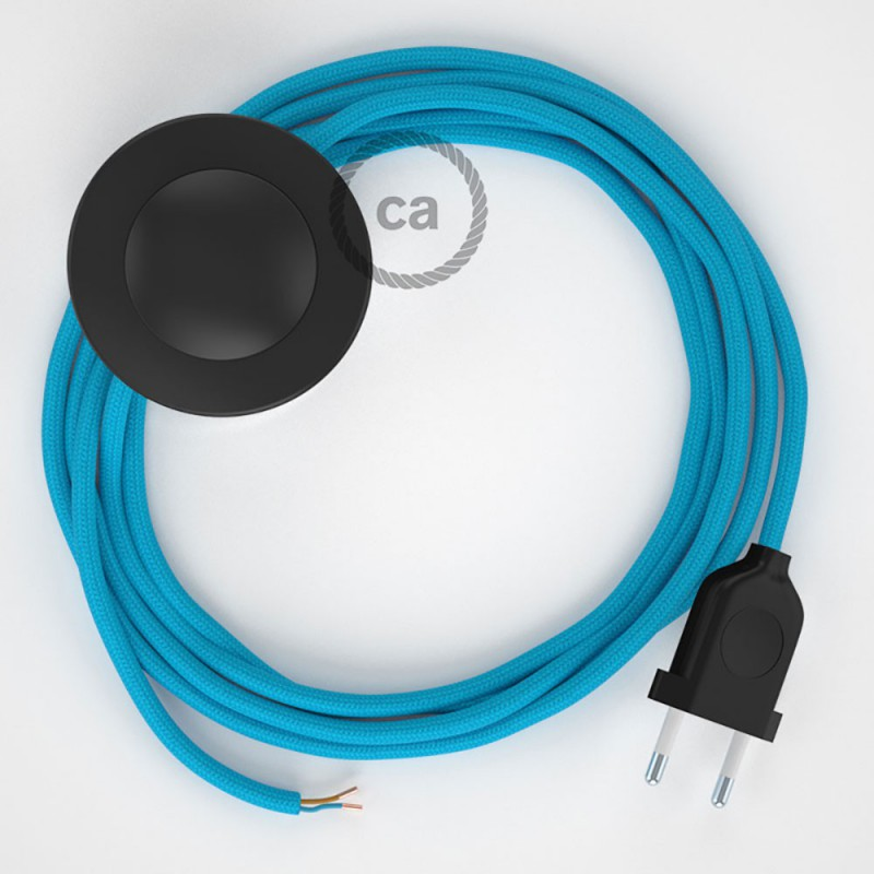 Cordon pour lampadaire, câble RM11 Effet Soie Bleu Clair 3 m. Choisissez la couleur de la fiche et de l'interrupteur!