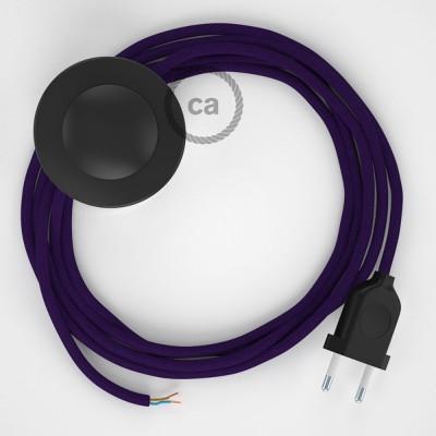 Cordon pour lampadaire, câble RM14 Effet Soie Violet 3 m. Choisissez la couleur de la fiche et de l'interrupteur!