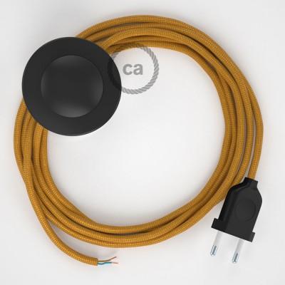 Cordon pour lampadaire, câble RM05 Effet Soie Doré 3 m. Choisissez la couleur de la fiche et de l'interrupteur!