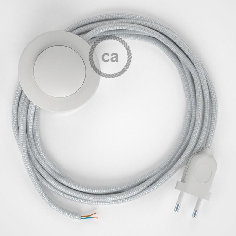 Cordon pour lampadaire, câble RM02 Effet Soie Argent 3 m. Choisissez la couleur de la fiche et de l'interrupteur!