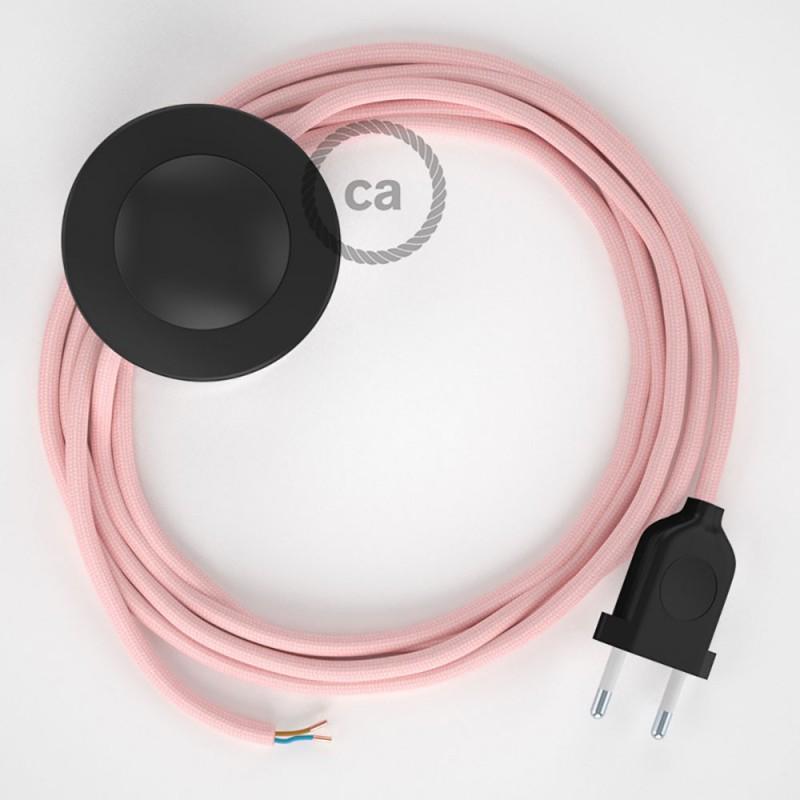 Cordon pour lampadaire, câble RM16 Effet Soie Rose Baby 3 m. Choisissez la couleur de la fiche et de l'interrupteur!