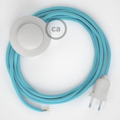 Cordon pour lampadaire, câble RM17 Effet Soie Bleu Clair Baby 3 m. Choisissez la couleur de la fiche et de l'interrupteur!
