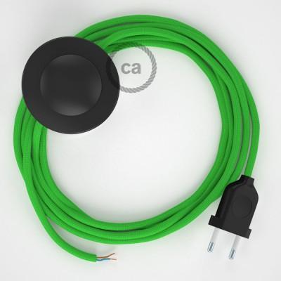 Cordon pour lampadaire, câble RM18 Effet Soie Vert Lime 3 m. Choisissez la couleur de la fiche et de l'interrupteur!