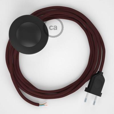 Cordon pour lampadaire, câble RM19 Effet Soie Bordeaux 3 m. Choisissez la couleur de la fiche et de l'interrupteur!