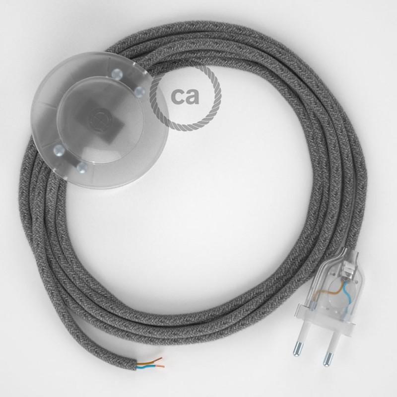 Cordon pour lampadaire, câble RN02 Lin Naturel Gris 3 m. Choisissez la couleur de la fiche et de l'interrupteur!