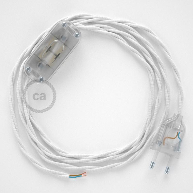 Cordon pour lampe, câble TM01 Effet Soie Blanc 1,80 m. Choisissez la couleur de la fiche et de l'interrupteur!