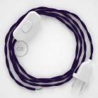 Cordon pour lampe, câble TM14 Effet Soie Violet 1,80 m. Choisissez la couleur de la fiche et de l'interrupteur!