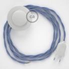Cordon pour lampadaire, câble TM07 Effet Soie Lilas 3 m. Choisissez la couleur de la fiche et de l'interrupteur!
