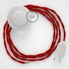 Cordon pour lampadaire, câble TM09 Effet Soie Rouge 3 m. Choisissez la couleur de la fiche et de l'interrupteur!