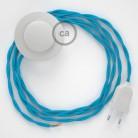 Cordon pour lampadaire, câble TM11 Effet Soie Turquoise 3 m. Choisissez la couleur de la fiche et de l'interrupteur!