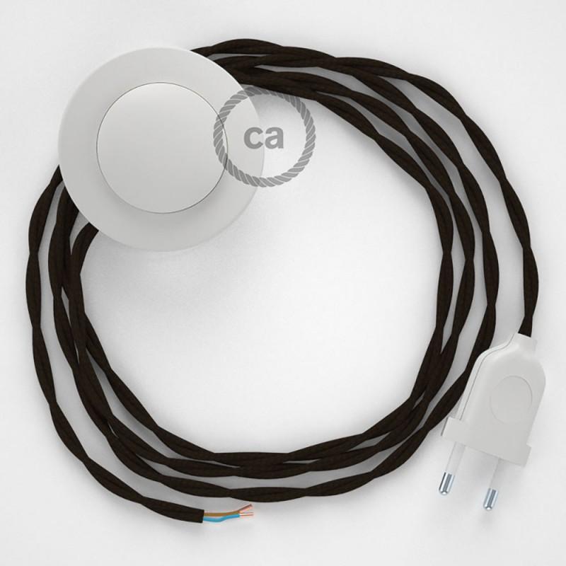 Cordon pour lampadaire, câble TM13 Effet Soie Marron 3 m. Choisissez la couleur de la fiche et de l'interrupteur!