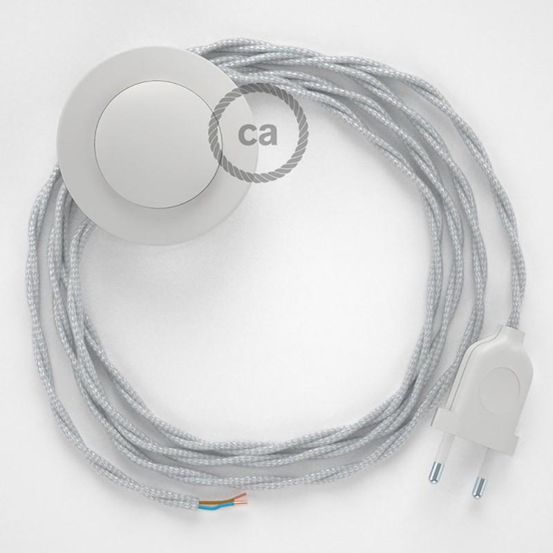 Cordon pour lampadaire, câble TM02 Effet Soie Argent 3 m. Choisissez la couleur de la fiche et de l'interrupteur!