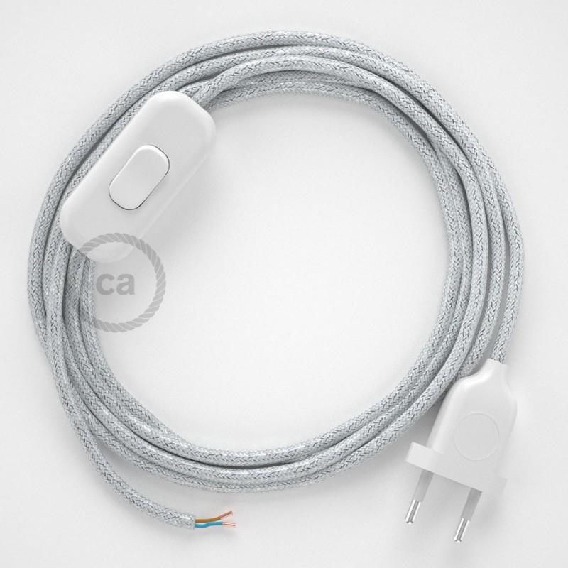 Cordon pour lampe, câble RL01 Effet Soie Paillettes Blanc 1,80 m. Choisissez la couleur de la fiche et de l'interrupteur!