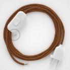 Cordon pour lampe, câble RL22 Effet Soie Paillettes Cuivre 1,80 m. Choisissez la couleur de la fiche et de l'interrupteur!