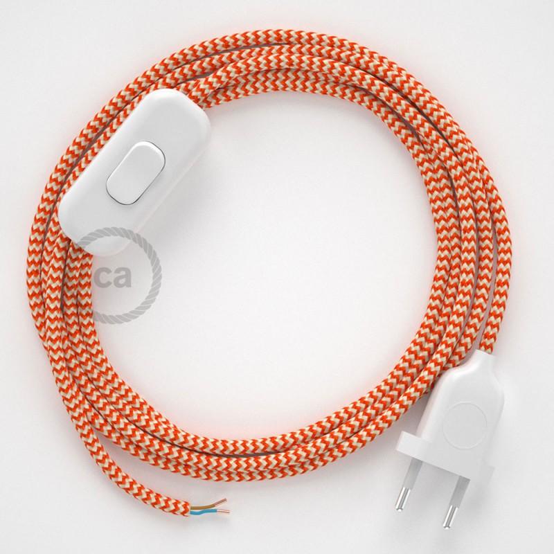 Cordon pour lampe, câble RZ15 Effet Soie ZigZag Blanc-Orange 1,80 m. Choisissez la couleur de la fiche et de l'interrupteur!