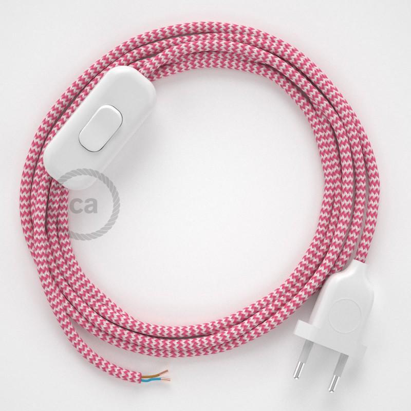 Cordon pour lampe, câble RZ08 Effet Soie ZigZag Blanc-Fuchsia 1,80 m. Choisissez la couleur de la fiche et de l'interrupteur!