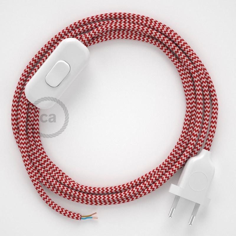 Cordon pour lampe, câble RZ09 Effet Soie ZigZag Blanc-Rouge 1,80 m. Choisissez la couleur de la fiche et de l'interrupteur!
