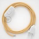 Cordon pour lampe, câble RZ10 Effet Soie ZigZag Blanc-Jaune 1,80 m. Choisissez la couleur de la fiche et de l'interrupteur!