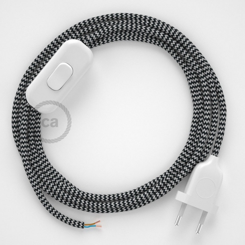 Cordon pour lampe, câble RZ04 Effet Soie ZigZag Blanc-Noir 1,80 m. Choisissez la couleur de la fiche et de l'interrupteur!