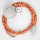 Cordon pour lampadaire, câble RZ15 Effet Soie ZigZag Blanc-Orange 3 m. Choisissez la couleur de la fiche et de l'interrupteur!