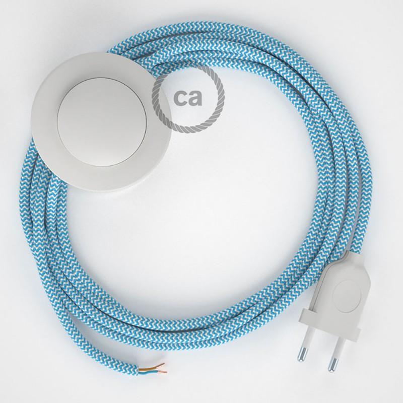 Cordon pour lampadaire, câble RZ11 Effet Soie ZigZag Bleu Clair 3 m. Choisissez la couleur de la fiche et de l'interrupteur!