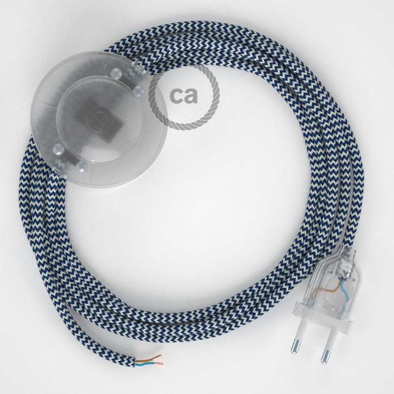 Cordon pour lampadaire, câble RZ12 Effet Soie ZigZag Blanc-Bleu 3 m. Choisissez la couleur de la fiche et de l'interrupteur!