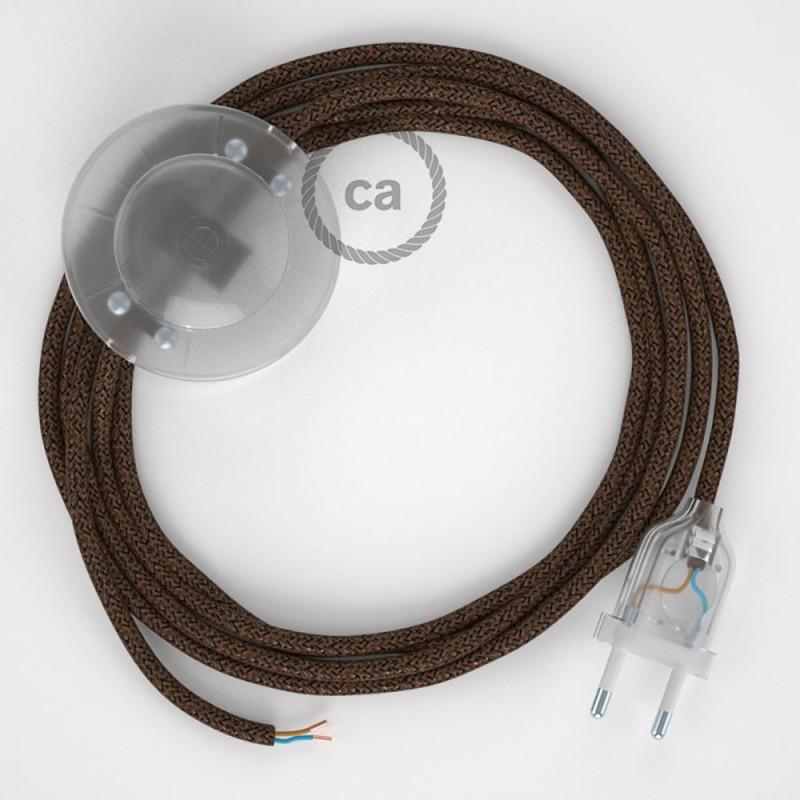 Cordon pour lampadaire, câble RL13 Effet Soie Paillettes Marron 3 m. Choisissez la couleur de la fiche et de l'interrupteur!