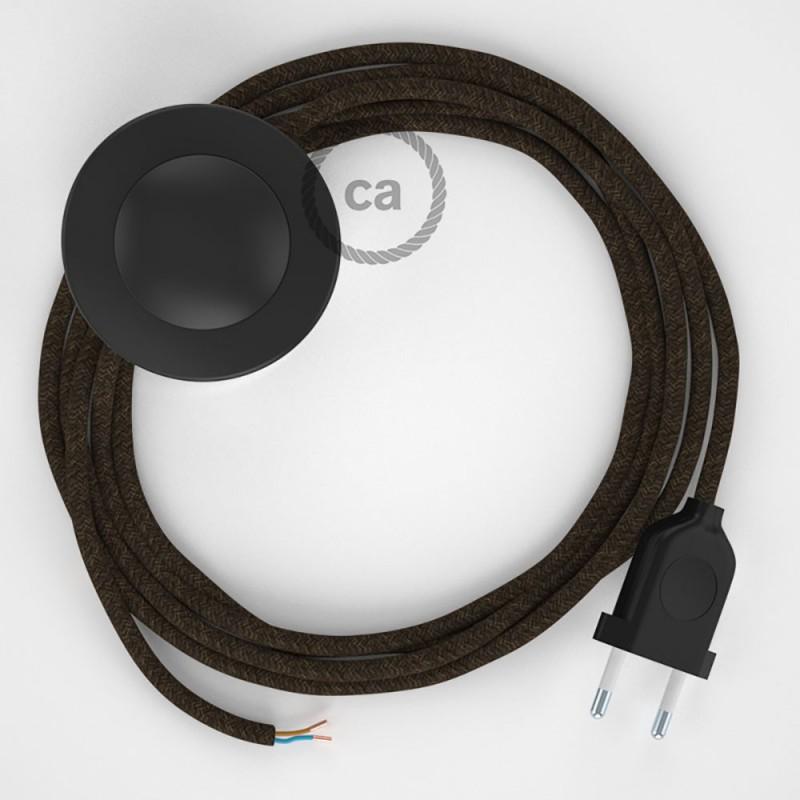 Cordon pour lampadaire, câble RN04 Lin Naturel Marron 3 m. Choisissez la couleur de la fiche et de l'interrupteur!