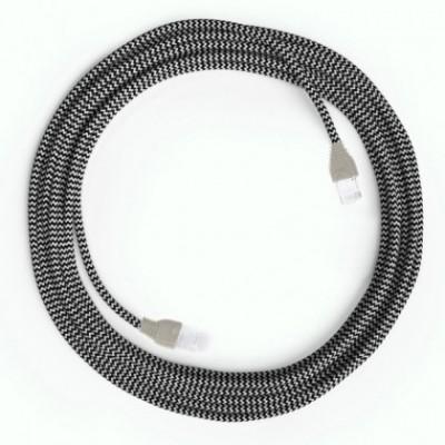 Câble Lan Ethernet Cat 5e avec connecteurs RJ45 - RZ04 Effet Soie Blanc Noir