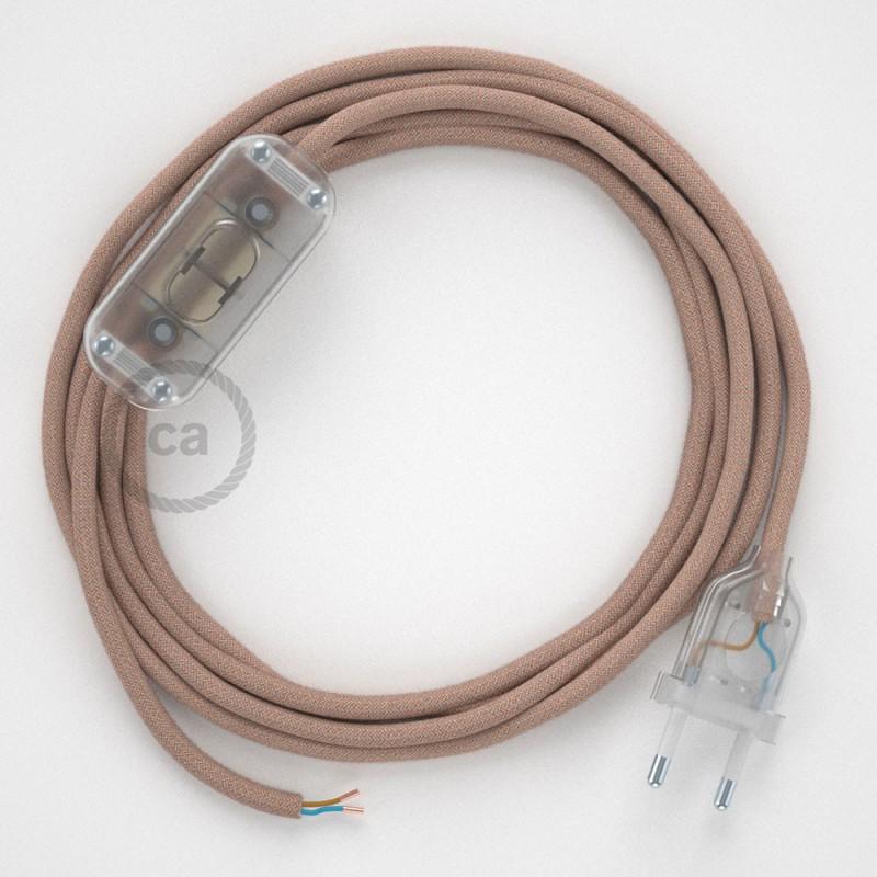 Cordon pour lampe, câble RD71 ZigZag Vieux Rose 1,80 m. Choisissez la couleur de la fiche et de l'interrupteur!