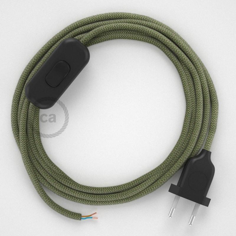 Cordon pour lampe, câble RD72 ZigZag Vert Thym 1,80 m. Choisissez la couleur de la fiche et de l'interrupteur!