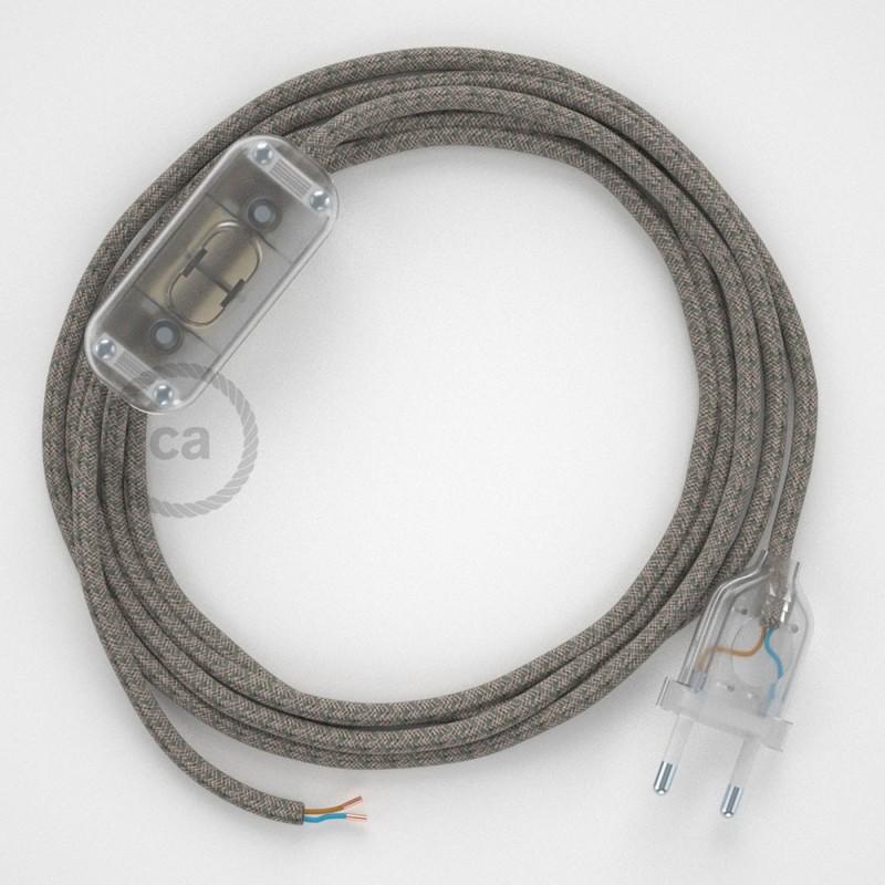 Cordon pour lampe, câble RD62 Losange Vert Thym 1,80 m. Choisissez la couleur de la fiche et de l'interrupteur!
