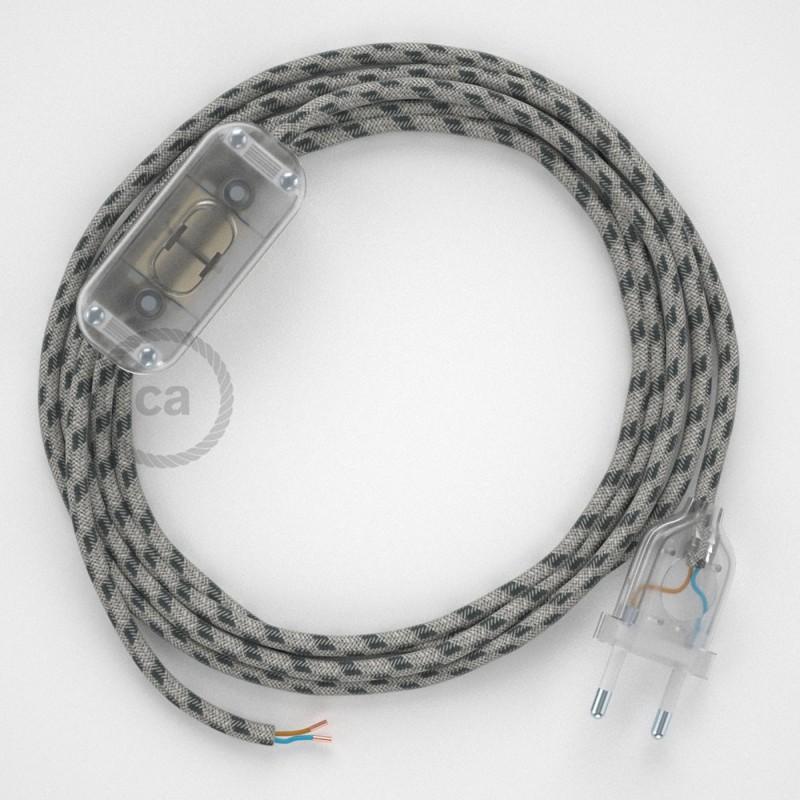 Cordon pour lampe, câble RD54 Stripes Anthracite 1,80 m. Choisissez la couleur de la fiche et de l'interrupteur!