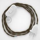 Cordon pour lampe, câble TC13 Coton Marron 1,80 m. Choisissez la couleur de la fiche et de l'interrupteur!
