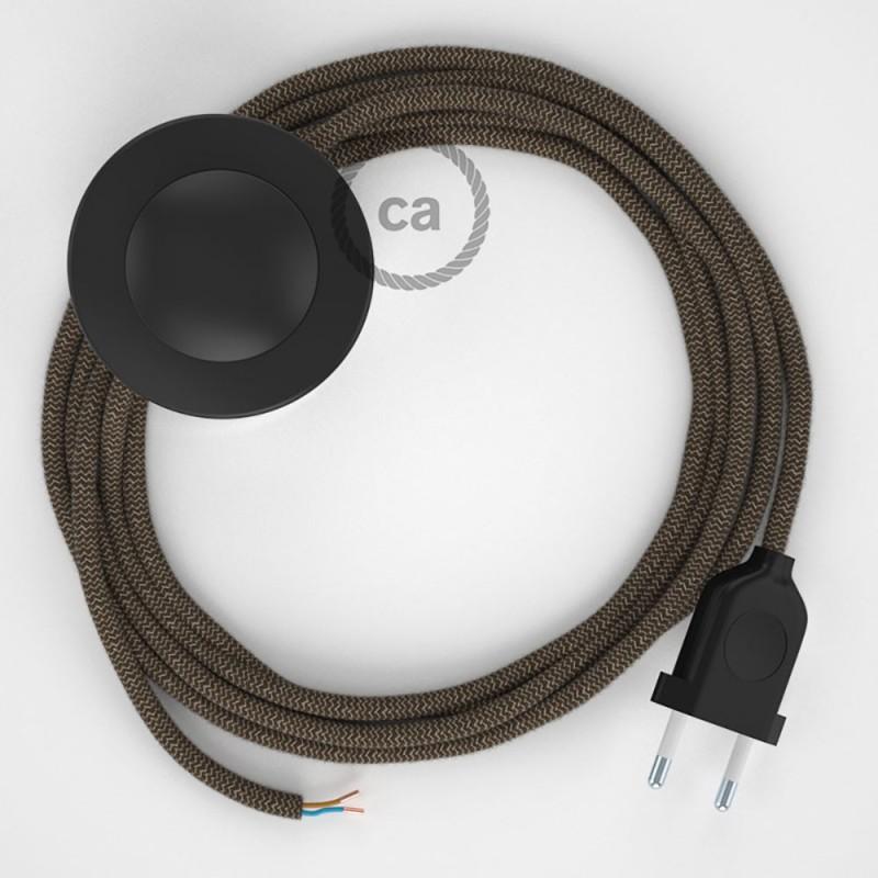 Cordon pour lampadaire, câble RD73 ZigZag Marron Écorce 3 m. Choisissez la couleur de la fiche et de l'interrupteur!