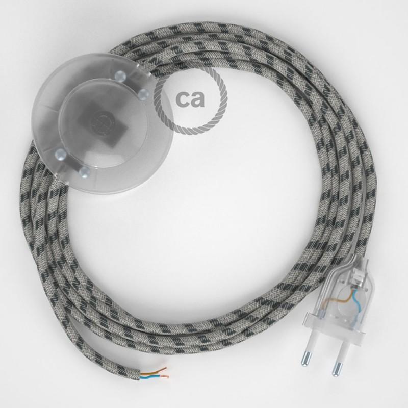 Cordon pour lampadaire, câble RD54 Stripes Anthracite 3 m. Choisissez la couleur de la fiche et de l'interrupteur!