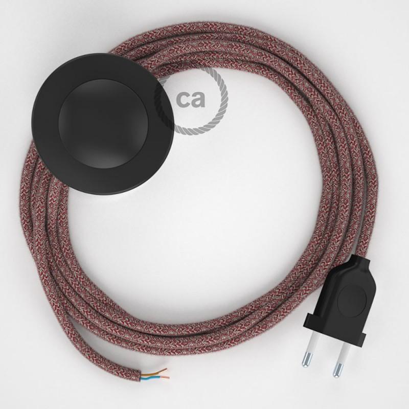 Cordon pour lampadaire, câble RS83 Coton et Lin Naturel Rouge 3 m. Choisissez la couleur de la fiche et de l'interrupteur!