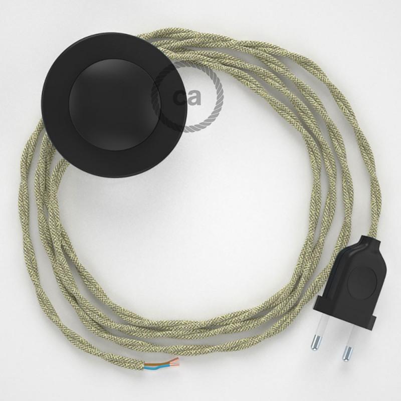 Cordon pour lampadaire, câble TN01 Lin Naturel Neutre 3 m. Choisissez la couleur de la fiche et de l'interrupteur!