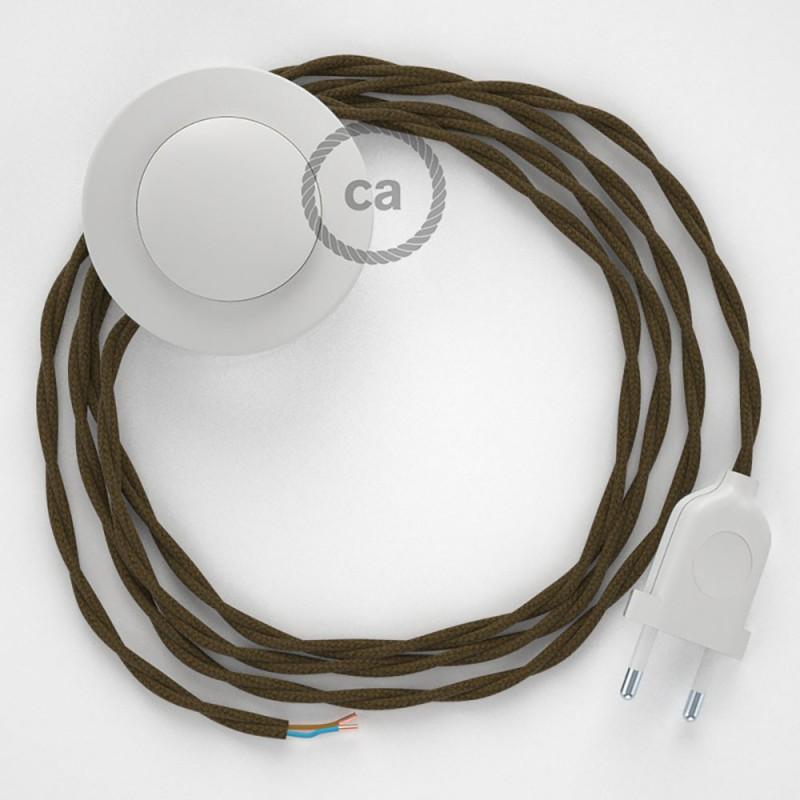 Cordon pour lampadaire, câble TC13 Coton Marron 3 m. Choisissez la couleur de la fiche et de l'interrupteur!