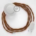 Cordon pour lampadaire, câble TM22 Effet Soie Whiskey 3 m. Choisissez la couleur de la fiche et de l'interrupteur!