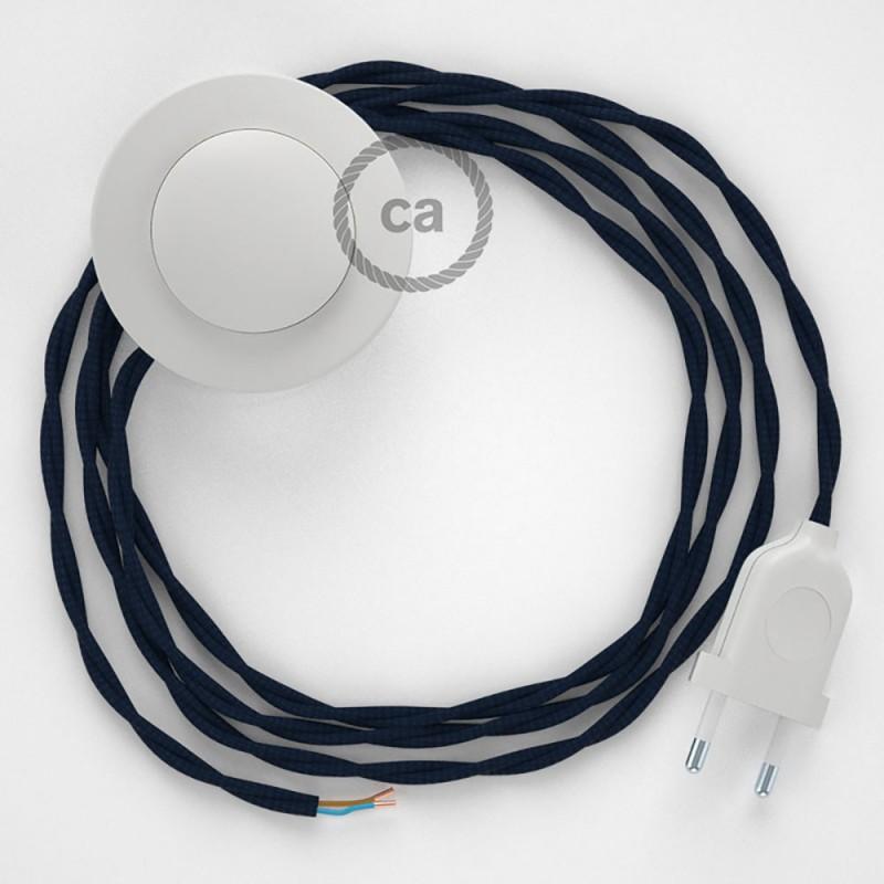 Cordon pour lampadaire, câble TM20 Effet Soie Bleu Foncé 3 m. Choisissez la couleur de la fiche et de l'interrupteur!