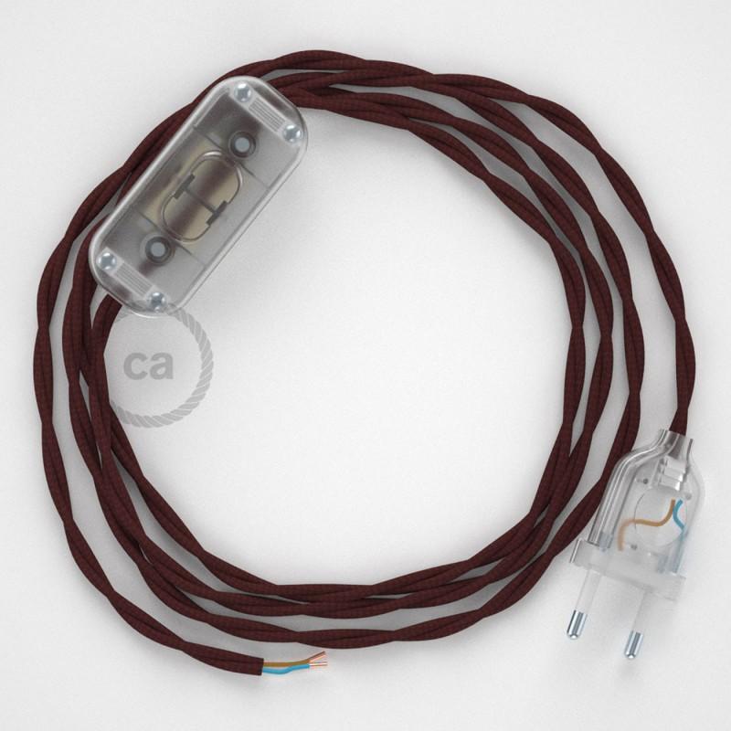 Cordon pour lampe, câble TM19 Effet Soie Bordeaux 1,80 m. Choisissez la couleur de la fiche et de l'interrupteur!