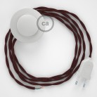 Cordon pour lampadaire, câble TM19 Effet Soie Bordeaux 3 m. Choisissez la couleur de la fiche et de l'interrupteur!