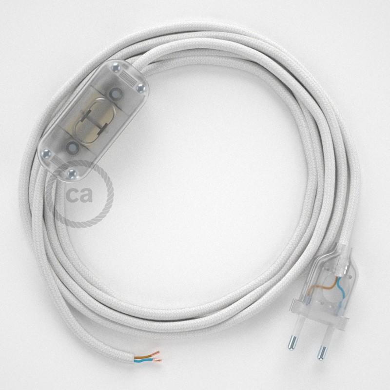 Cordon pour lampe, câble RC01 Coton Blanc 1,80 m. Choisissez la couleur de la fiche et de l'interrupteur!