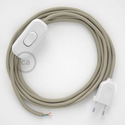 Cordon pour lampe, câble RC43 Coton Tourterelle 1,80 m. Choisissez la couleur de la fiche et de l'interrupteur!