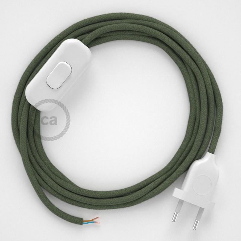 Cordon pour lampe, câble RC63 Coton Vert Gris 1,80 m. Choisissez la couleur de la fiche et de l'interrupteur!