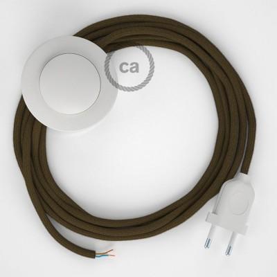 Cordon pour lampadaire, câble RC13 Coton Marron 3 m. Choisissez la couleur de la fiche et de l'interrupteur!