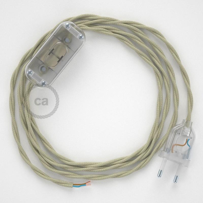 Cordon pour lampe, câble TC43 Coton Tourterelle 1,80 m. Choisissez la couleur de la fiche et de l'interrupteur!